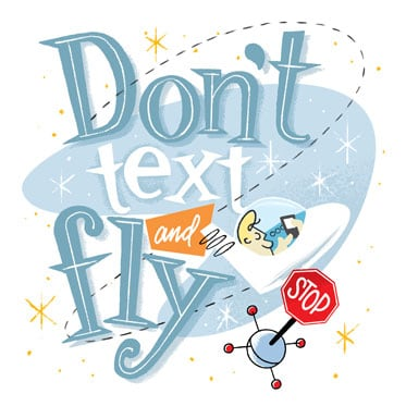 Retro illustration warning against texting