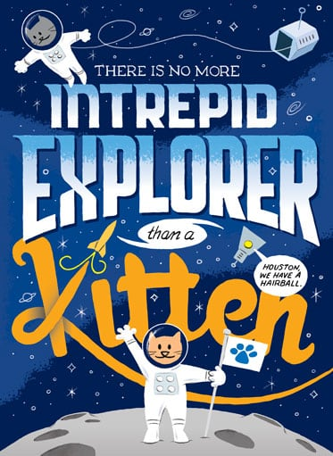 Hand lettered illustration of astronaut kitten