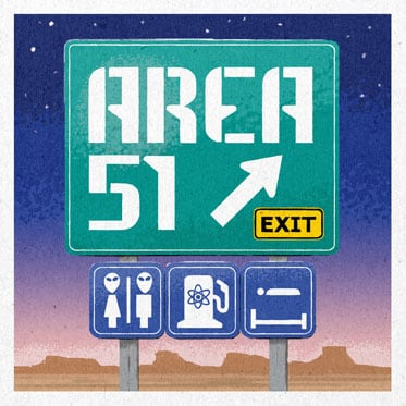 Hand lettered Area 51 road sign