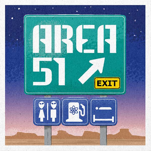 A whimsical road sign for Area 51.