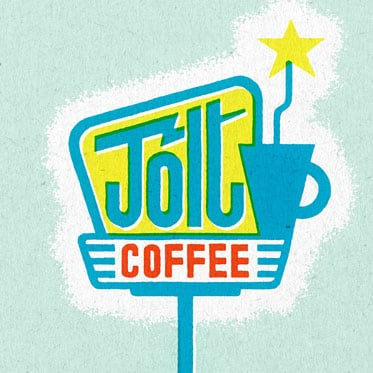 Hand lettered retro coffee shop sign