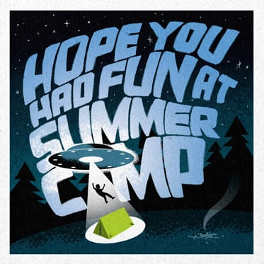 Illustration of alien abduction at summer camp