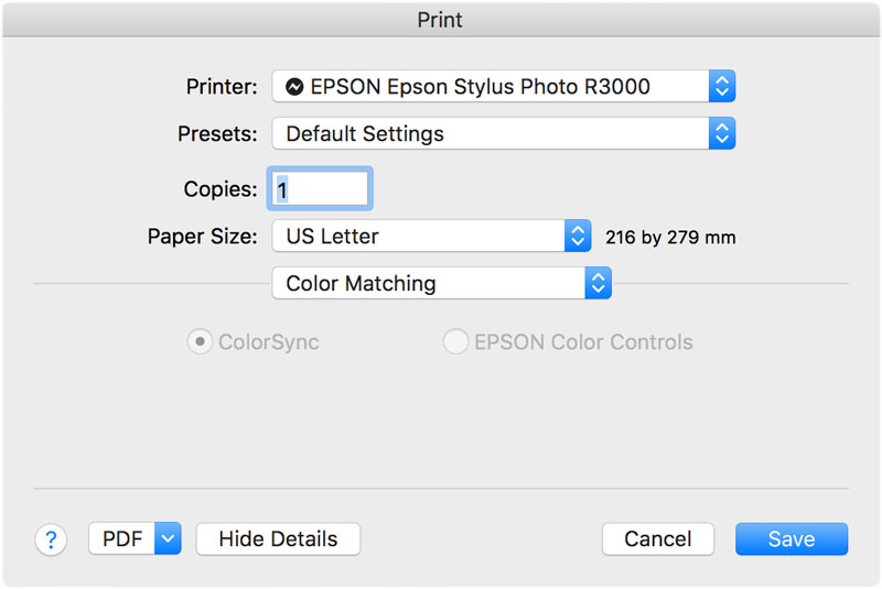 epson color matching