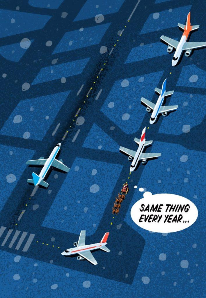 Santa waiting to take off